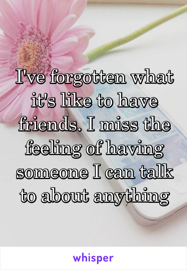 I've forgotten what it's like to have friends. I miss the feeling of having someone I can talk to about anything