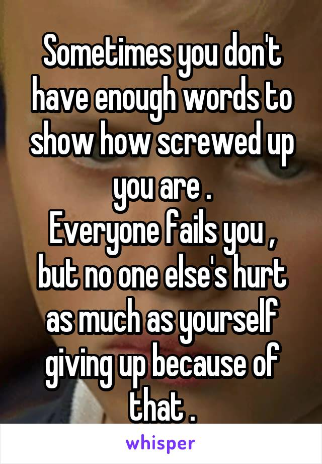 Sometimes you don't have enough words to show how screwed up you are . Everyone fails you , but no one else's hurt as much as yourself giving up because of that .