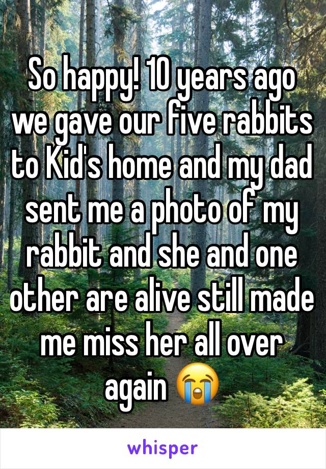 So happy! 10 years ago we gave our five rabbits to Kid's home and my dad sent me a photo of my rabbit and she and one other are alive still made me miss her all over again 😭