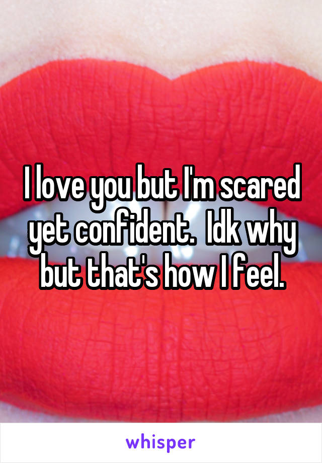 I love you but I'm scared yet confident.  Idk why but that's how I feel.