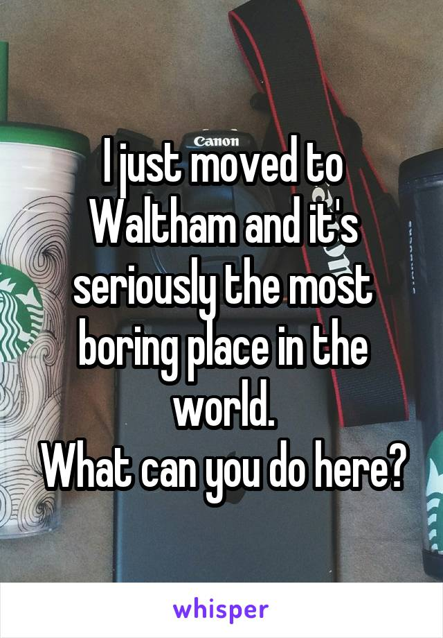 I just moved to Waltham and it's seriously the most boring place in the world. What can you do here?