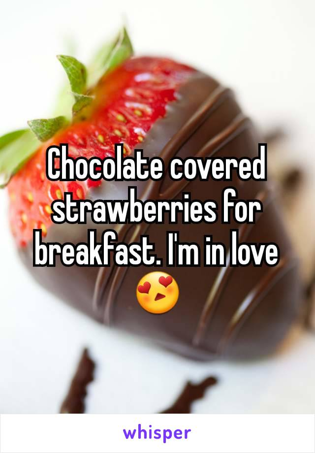 Chocolate covered strawberries for breakfast. I'm in love 😍
