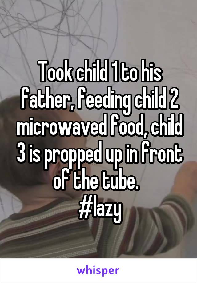 Took child 1 to his father, feeding child 2 microwaved food, child 3 is propped up in front of the tube.   #lazy