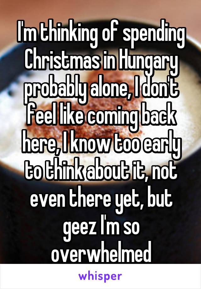 I'm thinking of spending Christmas in Hungary probably alone, I don't feel like coming back here, I know too early to think about it, not even there yet, but geez I'm so overwhelmed