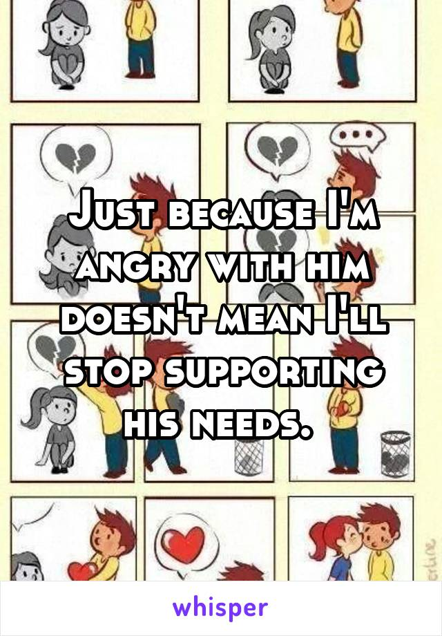 Just because I'm angry with him doesn't mean I'll stop supporting his needs.