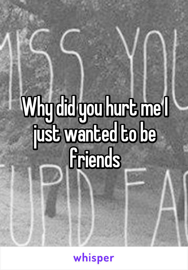 Why did you hurt me I just wanted to be friends