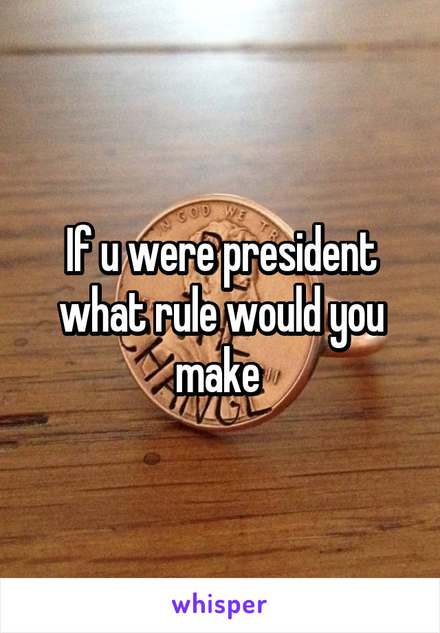 If u were president what rule would you make
