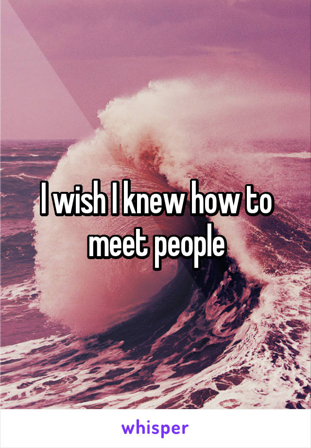 I wish I knew how to meet people