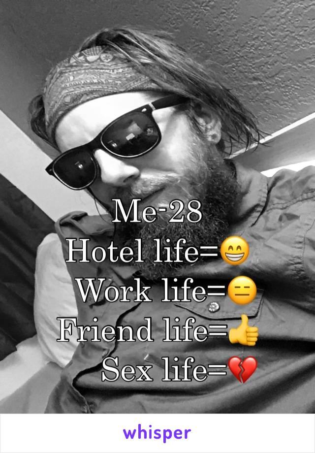 Me-28 Hotel life=😁   Work life=😑 Friend life=👍      Sex life=💔