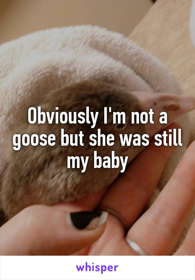 Obviously I'm not a goose but she was still my baby