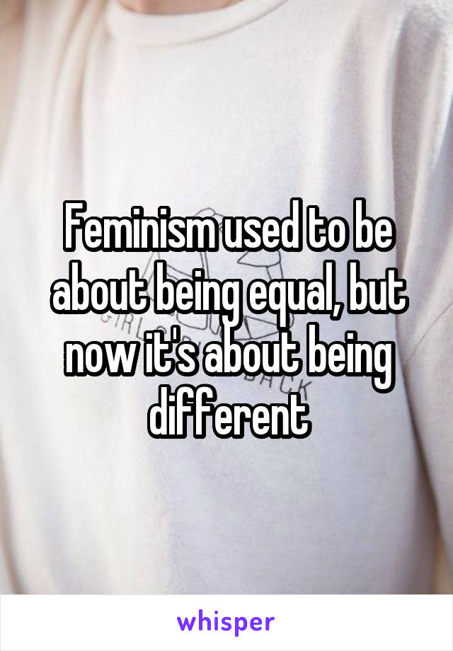 Feminism used to be about being equal, but now it's about being different
