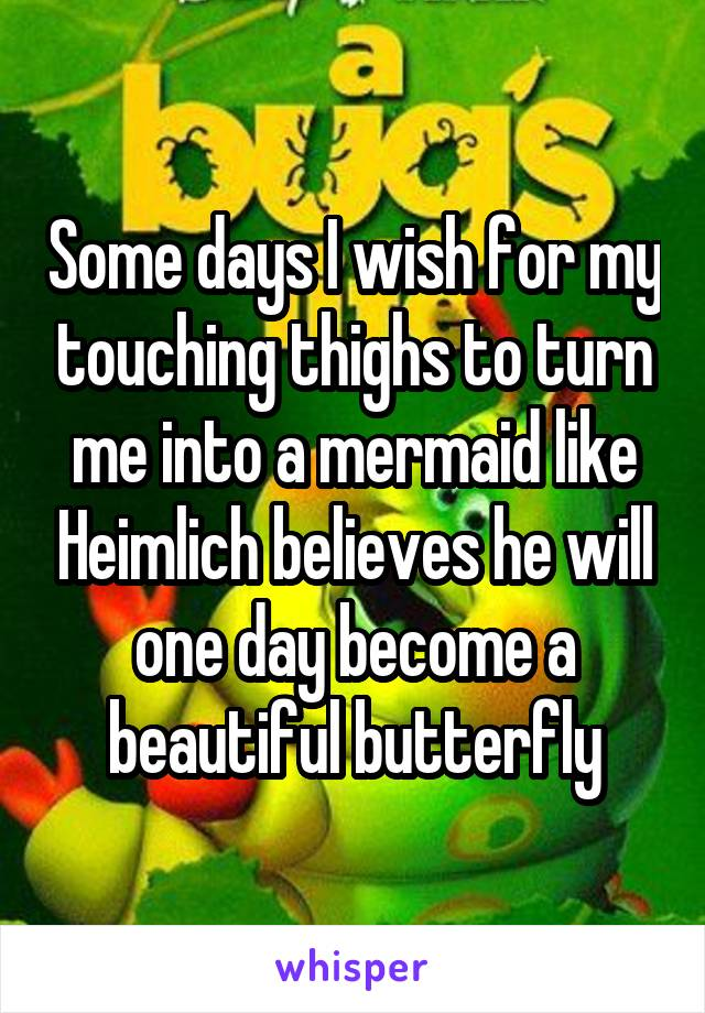 Some days I wish for my touching thighs to turn me into a mermaid like Heimlich believes he will one day become a beautiful butterfly