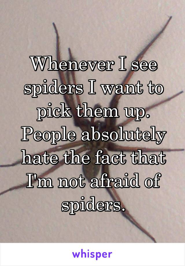 Whenever I see spiders I want to pick them up. People absolutely hate the fact that I'm not afraid of spiders.