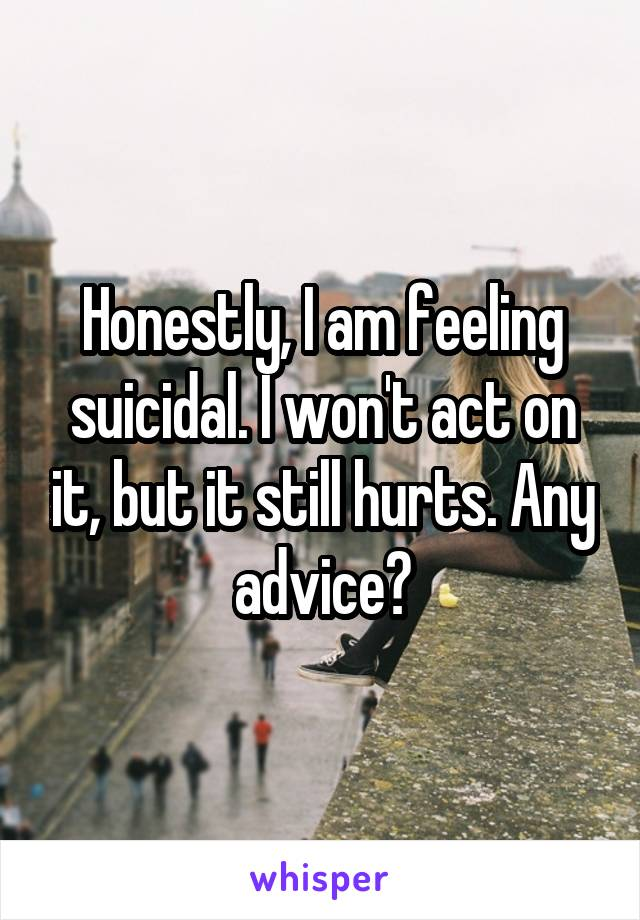 Honestly, I am feeling suicidal. I won't act on it, but it still hurts. Any advice?