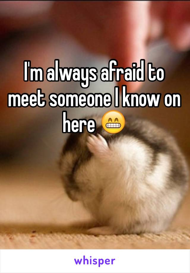 I'm always afraid to meet someone I know on here 😁