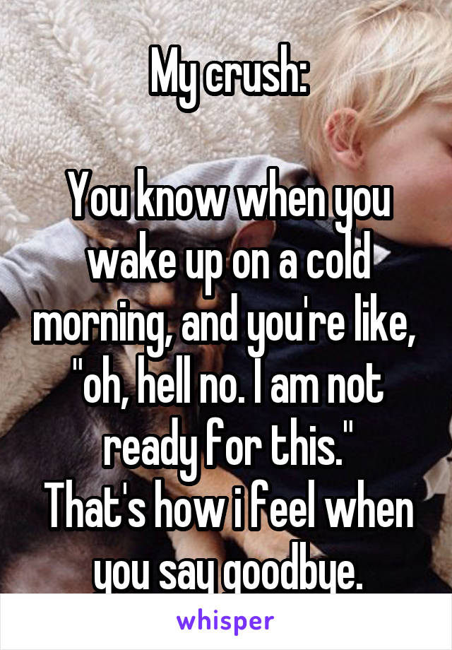 """My crush:  You know when you wake up on a cold morning, and you're like,  """"oh, hell no. I am not ready for this."""" That's how i feel when you say goodbye."""