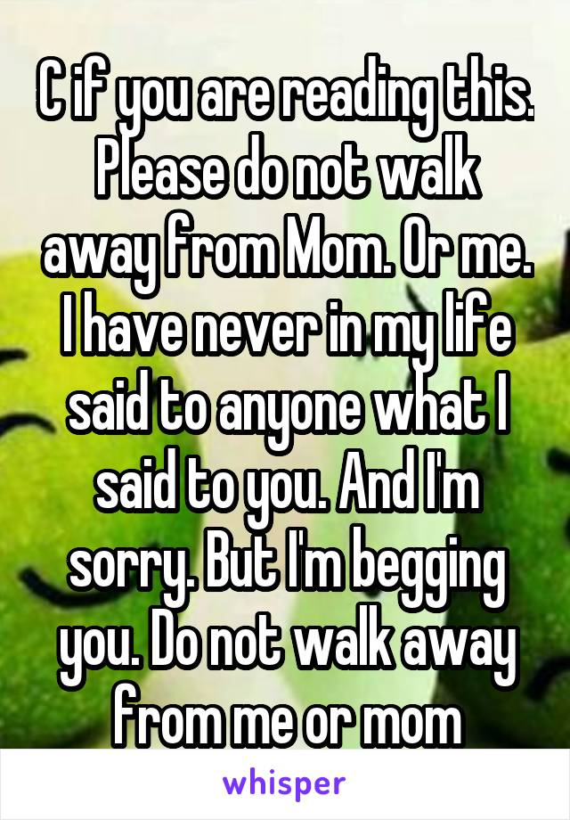 C if you are reading this. Please do not walk away from Mom. Or me. I have never in my life said to anyone what I said to you. And I'm sorry. But I'm begging you. Do not walk away from me or mom