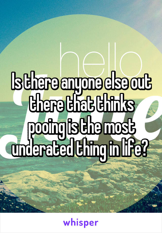 Is there anyone else out there that thinks pooing is the most underated thing in life?
