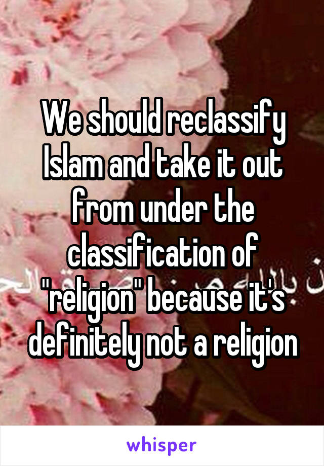 """We should reclassify Islam and take it out from under the classification of """"religion"""" because it's definitely not a religion"""