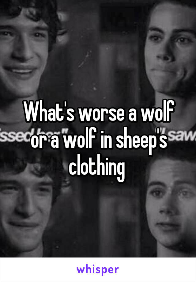 What's worse a wolf or a wolf in sheep's clothing
