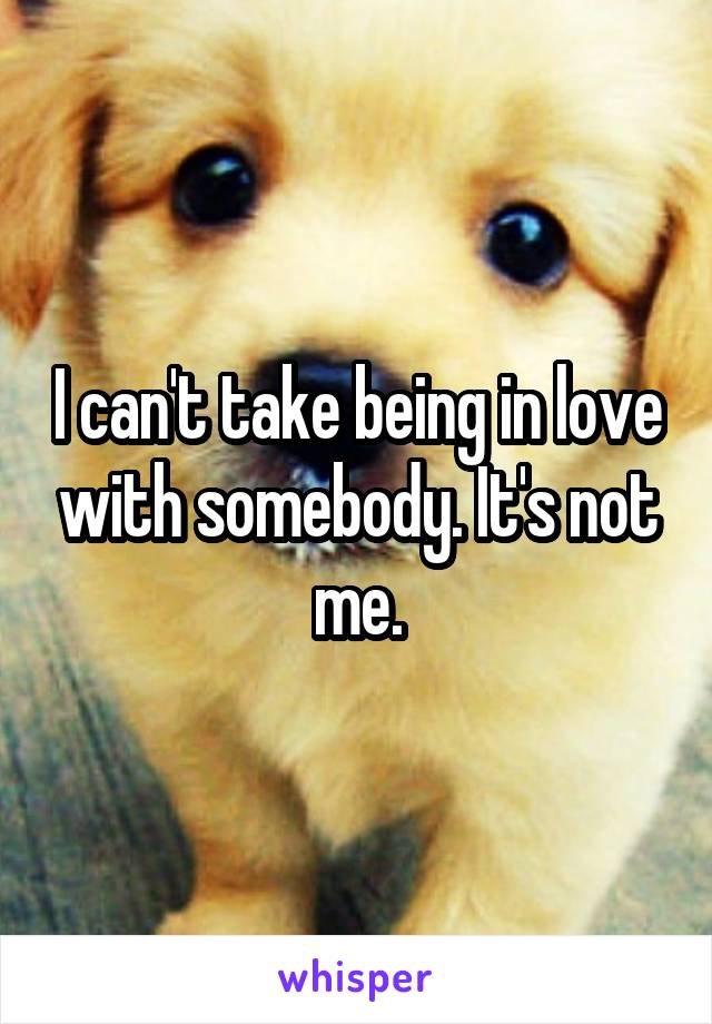 I can't take being in love with somebody. It's not me.