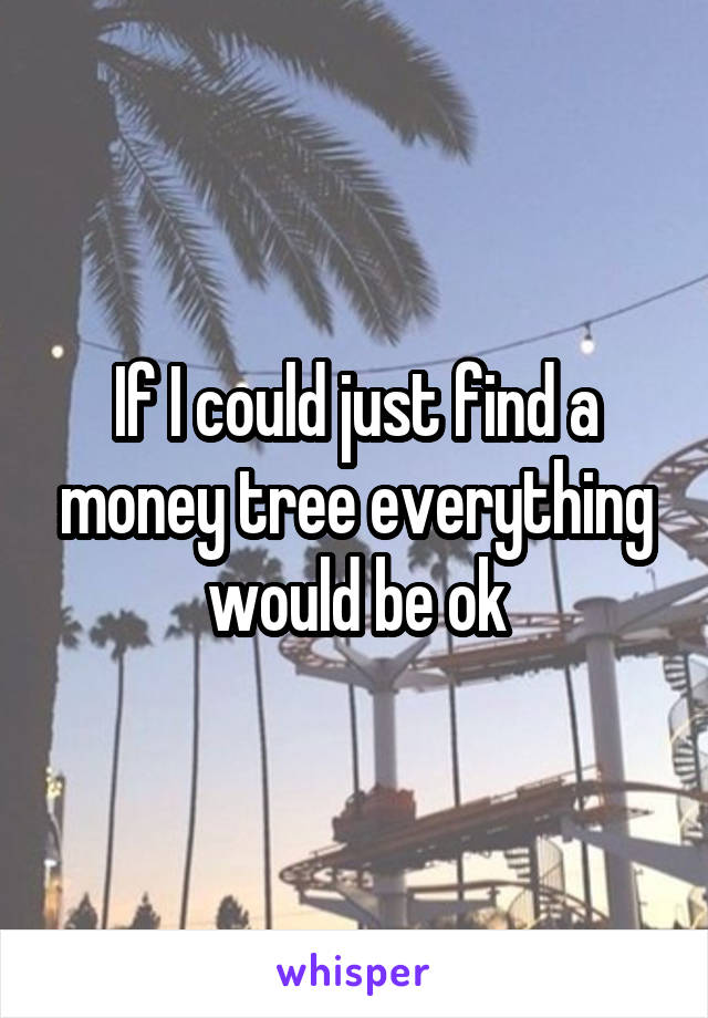 If I could just find a money tree everything would be ok