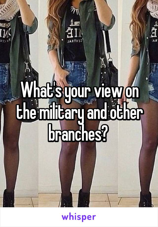What's your view on the military and other branches?