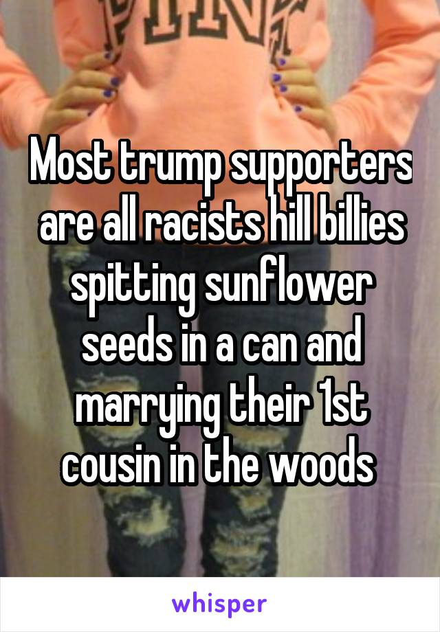 Most trump supporters are all racists hill billies spitting sunflower seeds in a can and marrying their 1st cousin in the woods