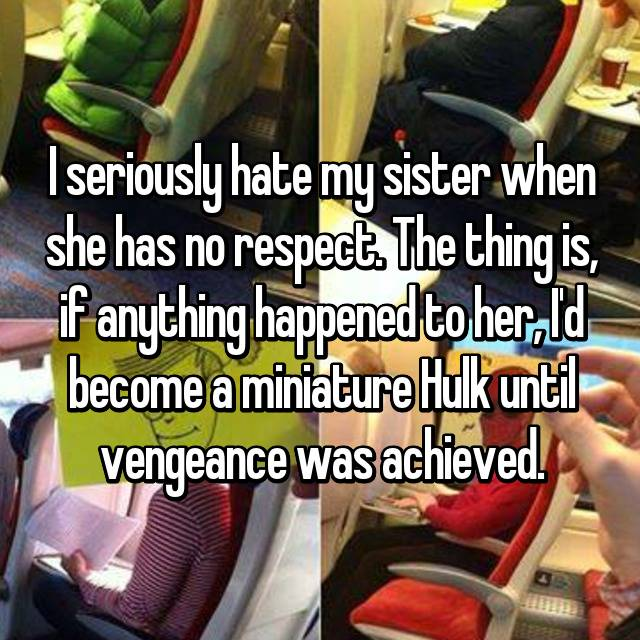 I seriously hate my sister when she has no respect. The thing is, if anything happened to her, I'd become a miniature Hulk until vengeance was achieved.