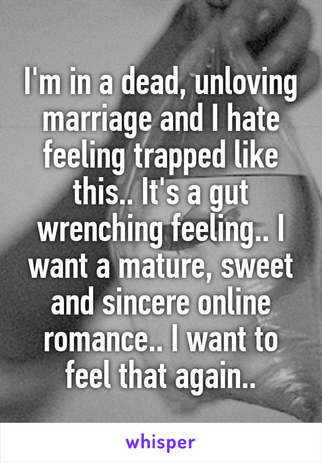 I'm in a dead, unloving marriage and I hate feeling trapped like this.. It's a gut wrenching feeling.. I want a mature, sweet and sincere online romance.. I want to feel that again..