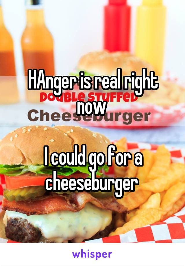HAnger is real right now   I could go for a cheeseburger