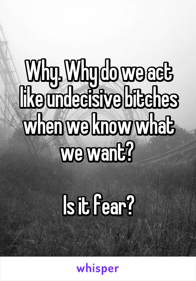 Why. Why do we act like undecisive bitches when we know what we want?   Is it fear?
