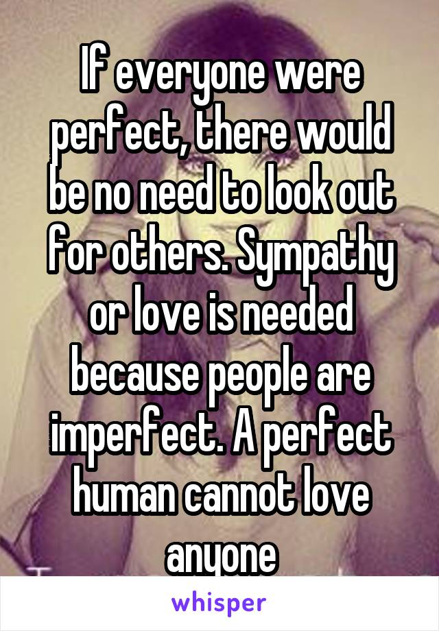 If everyone were perfect, there would be no need to look out for others. Sympathy or love is needed because people are imperfect. A perfect human cannot love anyone
