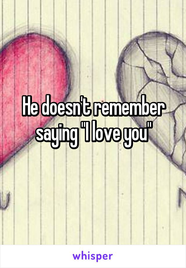 """He doesn't remember saying """"I love you"""""""