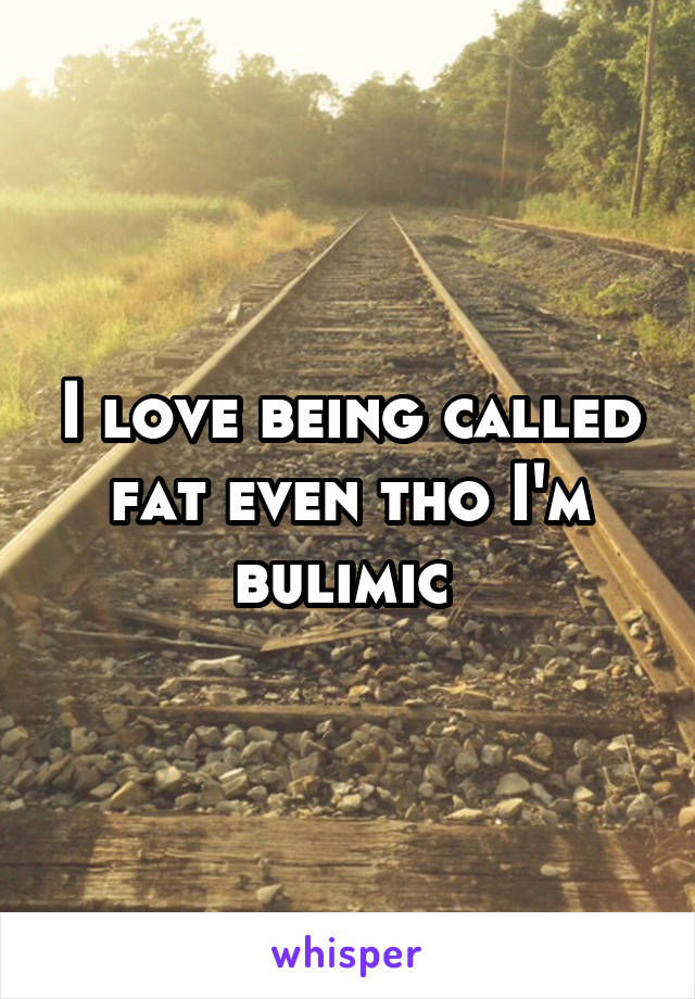I love being called fat even tho I'm bulimic