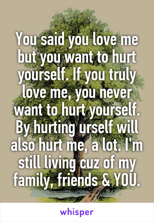 You said you love me but you want to hurt yourself. If you truly love me, you never want to hurt yourself. By hurting urself will also hurt me, a lot. I'm still living cuz of my family, friends & YOU.