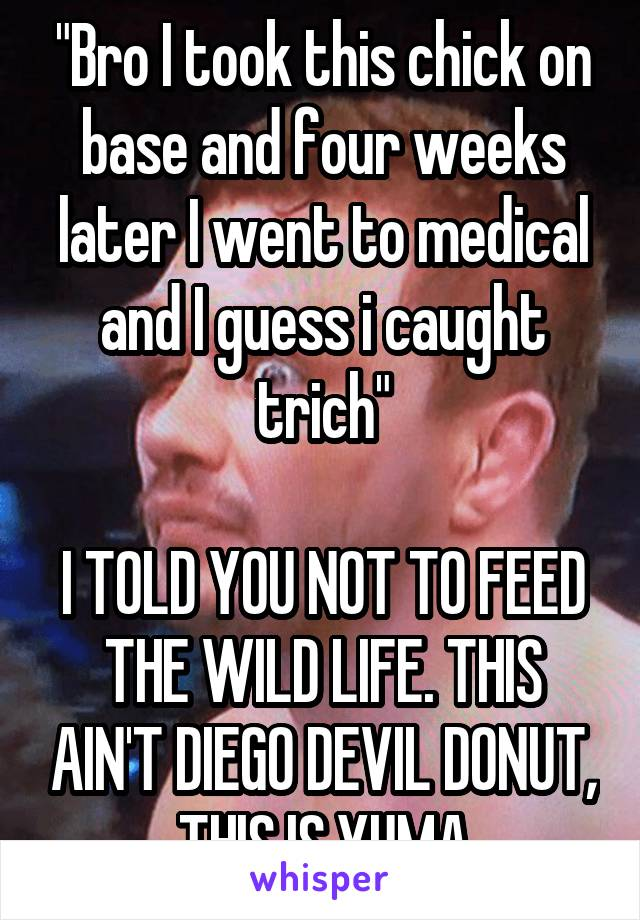 """""""Bro I took this chick on base and four weeks later I went to medical and I guess i caught trich""""  I TOLD YOU NOT TO FEED THE WILD LIFE. THIS AIN'T DIEGO DEVIL DONUT, THIS IS YUMA"""