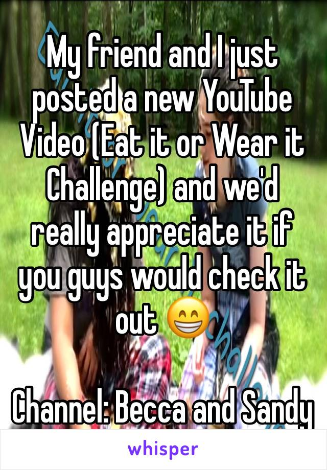 My friend and I just posted a new YouTube Video (Eat it or Wear it Challenge) and we'd really appreciate it if you guys would check it out 😁  Channel: Becca and Sandy