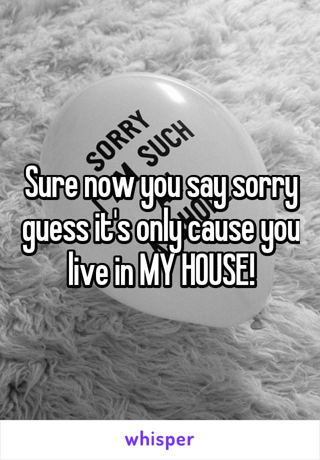 Sure now you say sorry guess it's only cause you live in MY HOUSE!