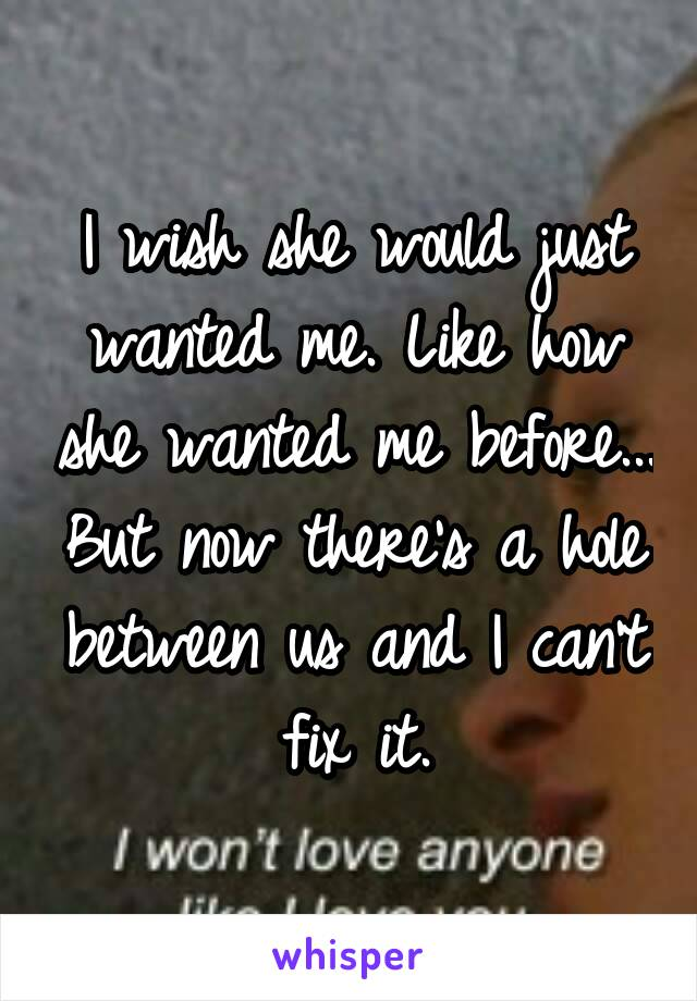 I wish she would just wanted me. Like how she wanted me before... But now there's a hole between us and I can't fix it.