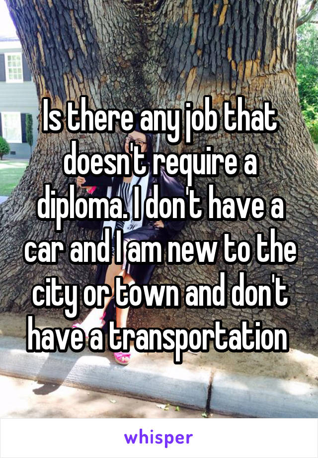 Is there any job that doesn't require a diploma. I don't have a car and I am new to the city or town and don't have a transportation