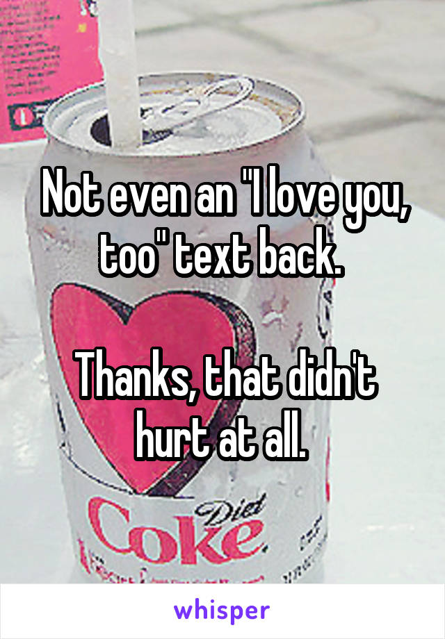 "Not even an ""I love you, too"" text back.   Thanks, that didn't hurt at all."