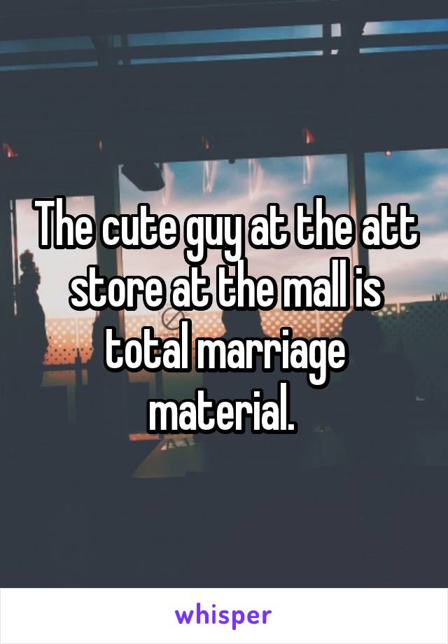 The cute guy at the att store at the mall is total marriage material.