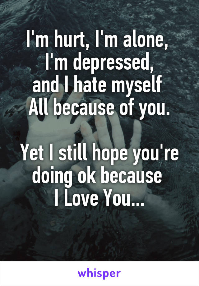I'm hurt, I'm alone,  I'm depressed, and I hate myself  All because of you.  Yet I still hope you're doing ok because  I Love You...