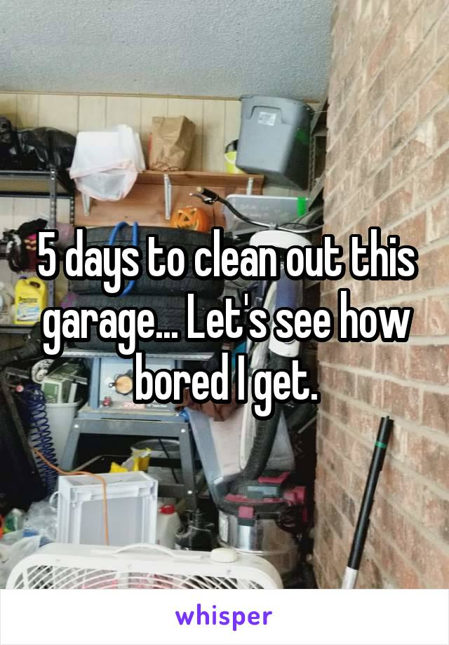 5 days to clean out this garage... Let's see how bored I get.