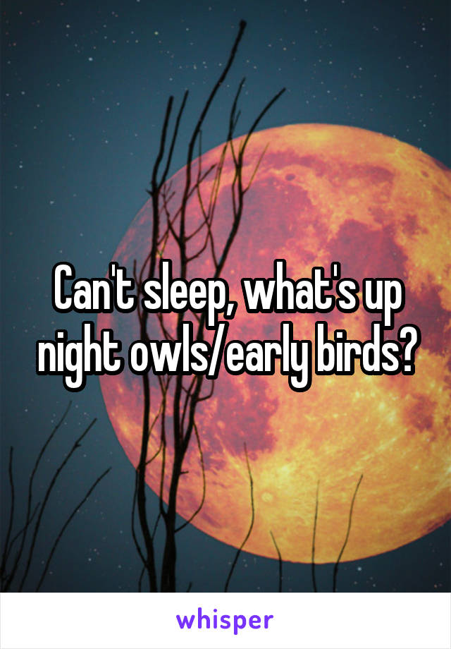 Can't sleep, what's up night owls/early birds?