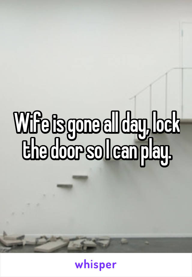 Wife is gone all day, lock the door so I can play.