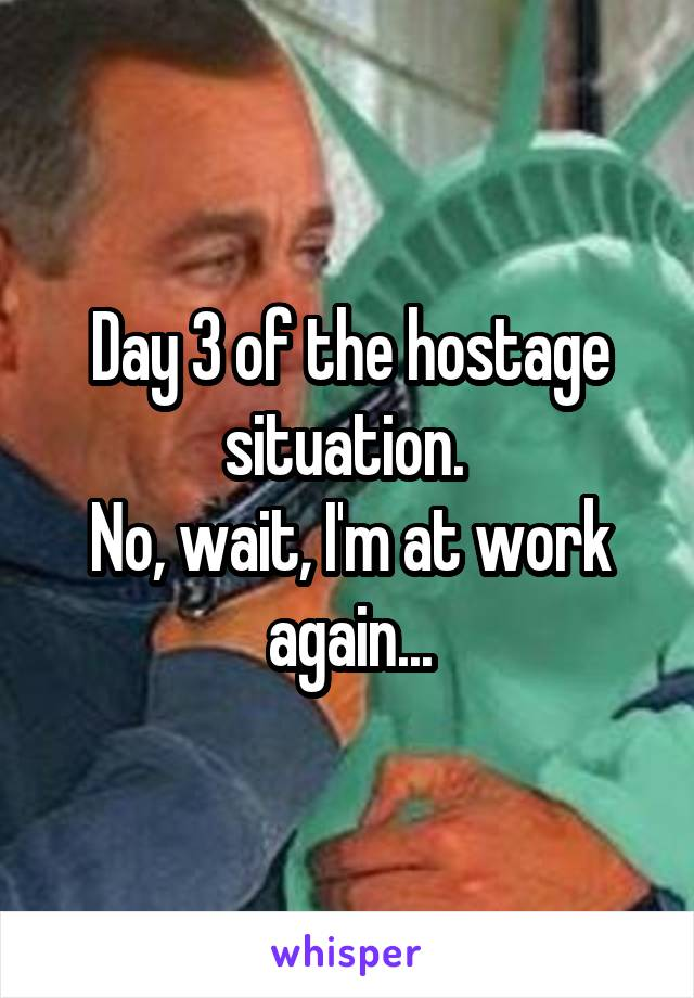 Day 3 of the hostage situation.  No, wait, I'm at work again...
