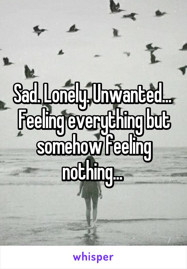 Sad. Lonely. Unwanted...  Feeling everything but somehow feeling nothing...