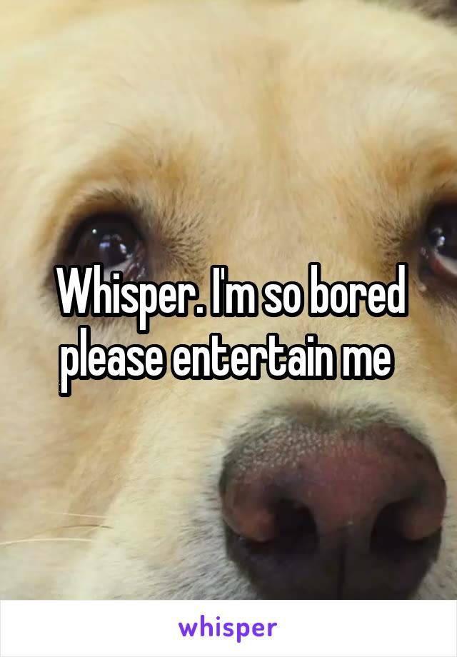 Whisper. I'm so bored please entertain me